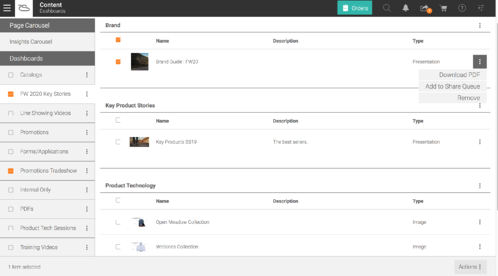 All your content in one central location. Dashboards.