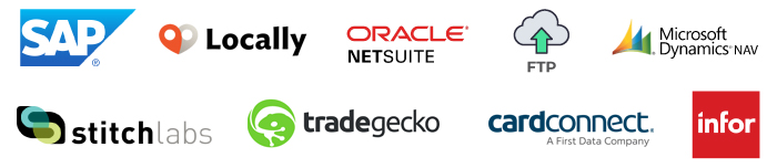 SAP, LOCALLY, ORACLE NETSUITE, FTP, MICROSOFT DYNAMICS, STITCHLABS, TRADEGECKO, CARDCONNECT, INFOR